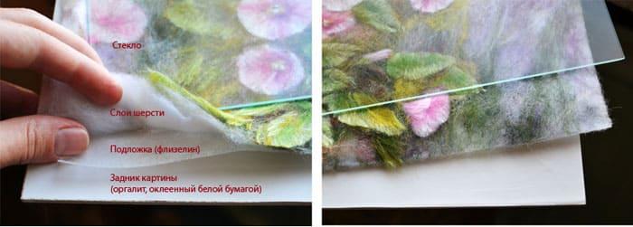 Любая картина — сочетание базовых приёмов работы с шерстяными волокнами. В результате мы наблюдаем некоторое количество слоёв, основу, ДВП и стекло