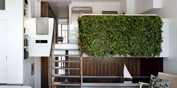 Настенная композиция может состоять из одного типа растений, предпочтительно ампельных разновидностей – такая стена смотрится просто класс!