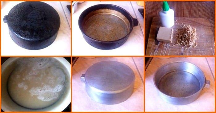 Нужно поддерживать всё время небольшой огонь. Этот метод подходит для очищения посуды из чугуна, стали, алюминия и для дюралевых сковородок
