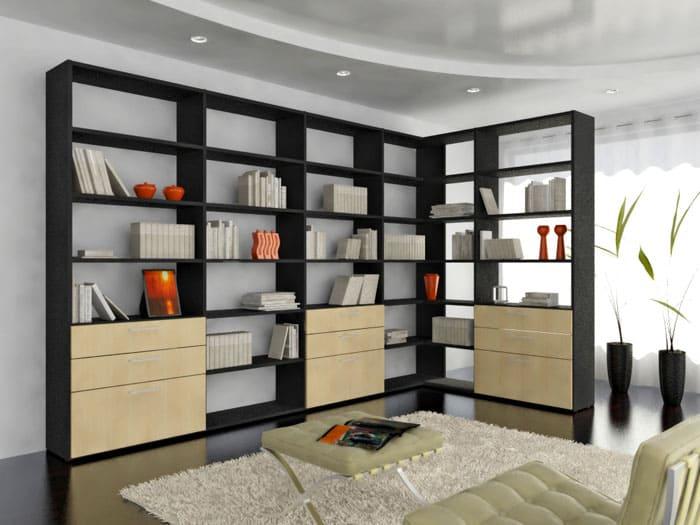 Современная домашняя библиотека удачно сконструирована и прекрасно вписывается в любой интерьер