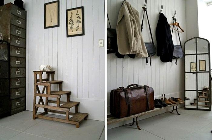 Деревянные лесенки и скамейки хоть и не уместят много обуви, но прекрасно поддержат стиль