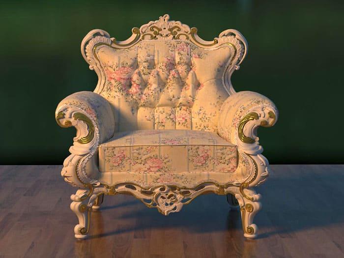Простая мебель уступает сложным витиеватым формам, каждое кресло является в буквальном смысле образцом искусства