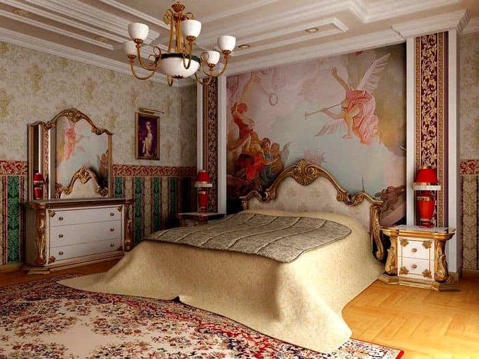 Любителям и ценителям искусства понравится спальня барокко с традиционными фресками, пусть и сделанными благодаря современным технологиям