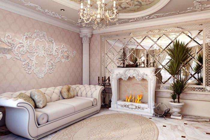 В качестве отделочных материалов для барочных стен подходят текстурные обои с рисунком, декоративные штукатурки, деревянные панели, которые чаще всего закрывают нижнюю половину стен
