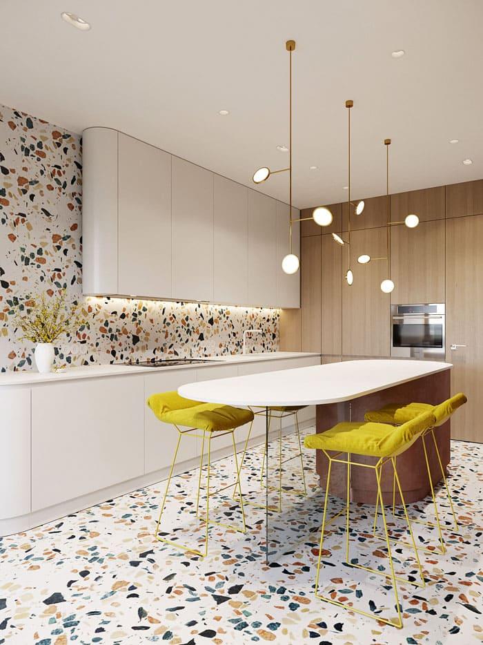 Плитка тераццо представляет из себя включение с вкраплениями стекла, камня или мрамора, что делает интерьер заметно роскошнее и оригинальнее