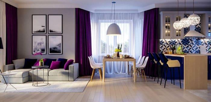 Сочным решением стал ночной фиолетовый оттенок, который можно использовать как в декоре, так и в отделке мебели, комбинируя его с серым, красным или голубым
