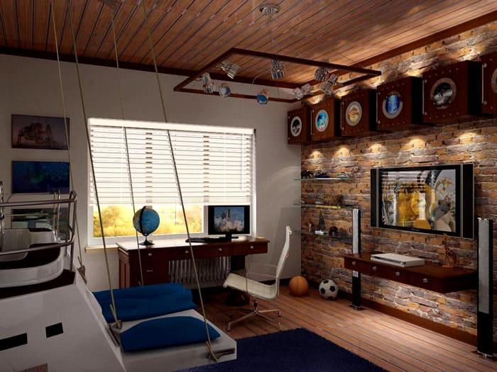 В подростковых комнатах внимание уделяют подсветке и тематическим элементам. Уже можно не заботиться о смягчении фабричного облика помещения