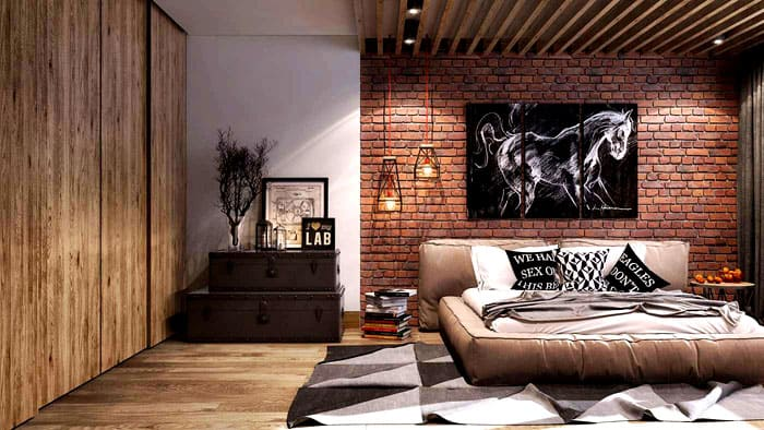 Встроенный шкаф скрыт за деревянными панелями, а кровать состоит из кожаных матов, что не противоречит стилю. Дополнительным местом хранения является пара сундуков около кровати