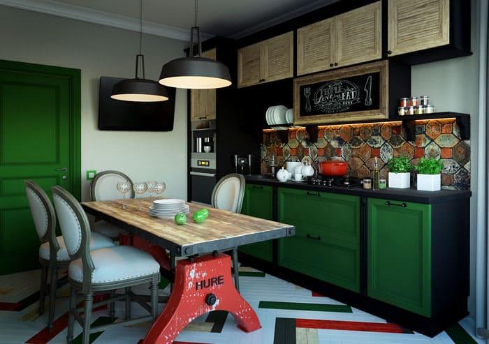 Очень кстати включение в декор грифельной доски. С выбранным глубоким зелёным цветом хорошо сочетается отделка и вся мебель