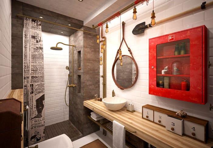 Креативная замена банального шкафчика на предмет, стилизованный под пожарный настенный шкаф. Освещение служит не только источником света, но и декором