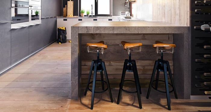 Для лофтовой мебели берут подчас совсем неприспособленные для мебели вещи и создают шедевральные барные стулья