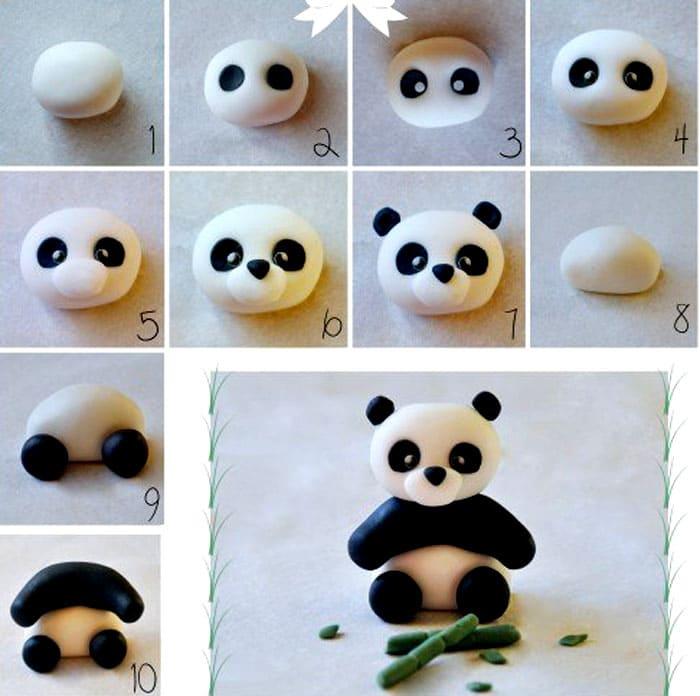 Панду делать довольно непросто, но пошаговое фото поможет сориентироваться на каждом этапе