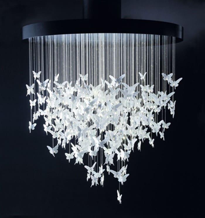 Из ниток и бабочек делают удивительные по изяществу абажуры. Много бабочек получить легко, если приобрести фигурный дырокол