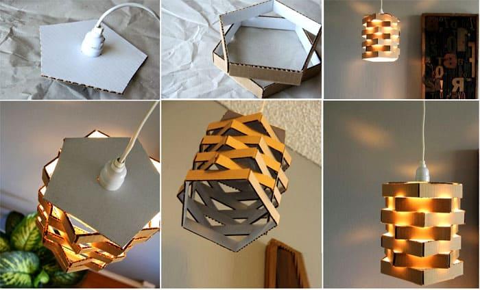 Картонные полосы легко превратить в фигурный светильник. Поможет в закреплении горячий клей или мебельный степлер