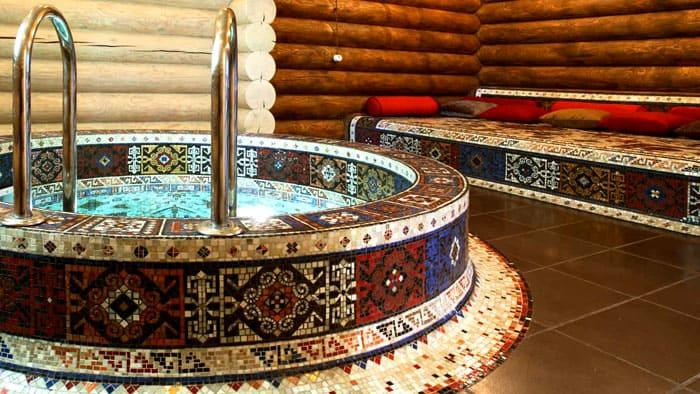 Сауна в частном доме прекрасно декорируется таким орнаментом