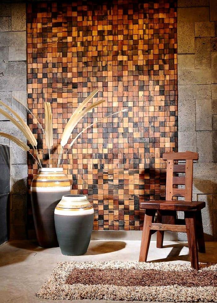 Отличное место для деревянной мозаики. Общий фон сразу приобретает какой-то глубокий шарм