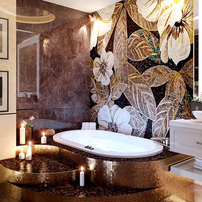 Изысканная ванная обойдётся в приличную сумму, но такой дизайн окажется не только высокоэстетичным, но и очень долговечным