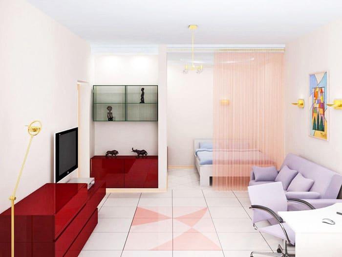 Студия - это зонированное помещение. С помощью умело подобранного текстиля, можно визуально разделить её на функциональные мини - комнаты