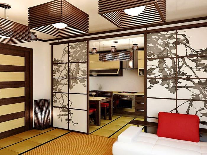 Японскому стилю нужна аналогичная ширма, которая может отделить зону спальни от остальной части дома