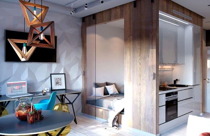 Функционал на высоте: и зонирование, и ниша для мебели, и спаленка