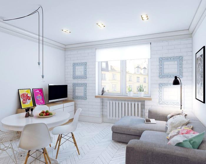 В скандинавском стиле оформить студию легко: с зонированием не будет проблем, всё органично и находится на своих местах