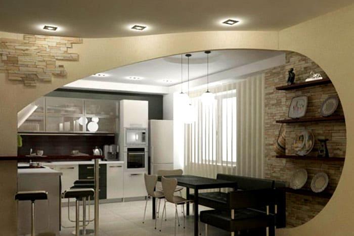 Арка поможет зонировать помещение, визуально отделив кухню от гостиной