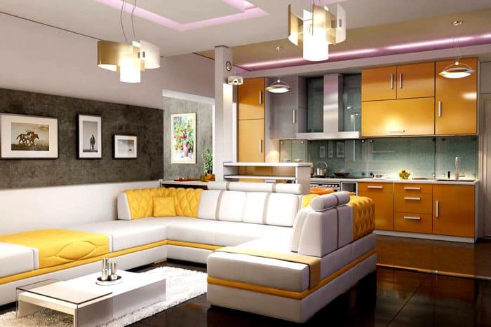 Мебельный уголок идеально символизирует собой зону гостиной