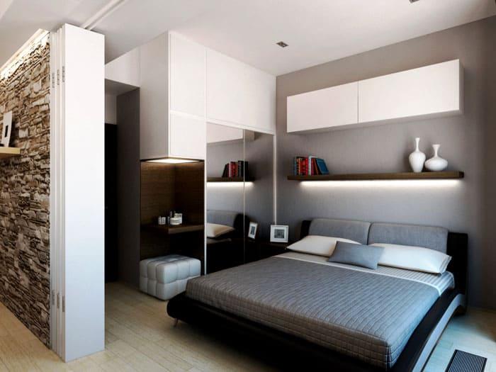 Если вариант диван-кровать и сон в гостиной вас не устраивает, однозначно нужно продумать зону спальни