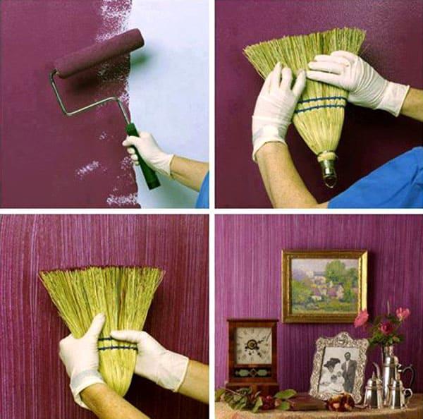 Никак не решите, покупать ли шпатель для декоративных работ или не знаете, как креативно и задаром окрасить стены с изюминкой? Используйте для этого веник