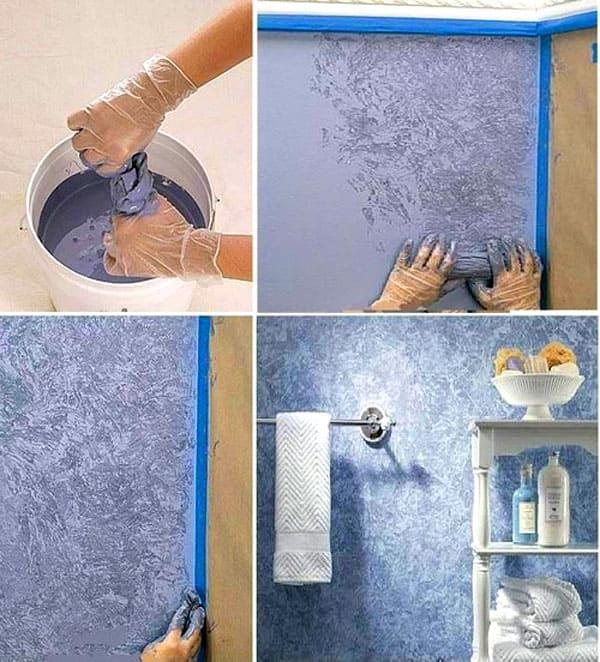 Обычная скомканная тряпка и краска дают уникальные покрытия стен