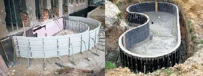 При помощи гибкой пластиковой опалубки можно создавать криволинейные конструкции