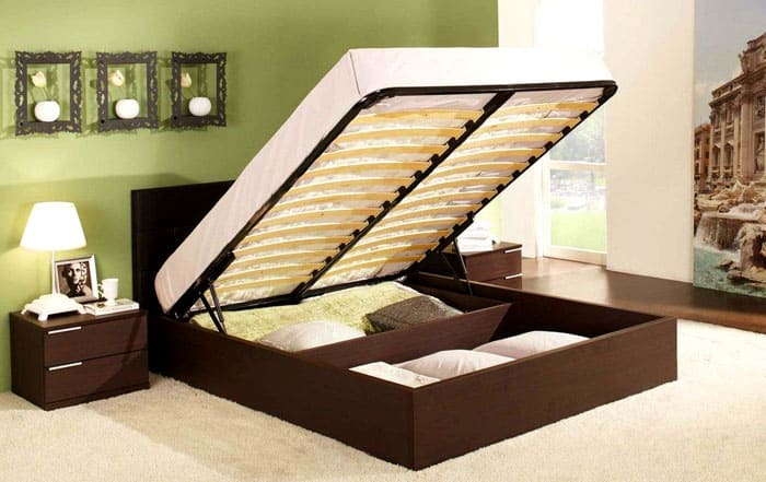 Перемещение спального места под углом – наиболее распространённый тип подъёмного механизма