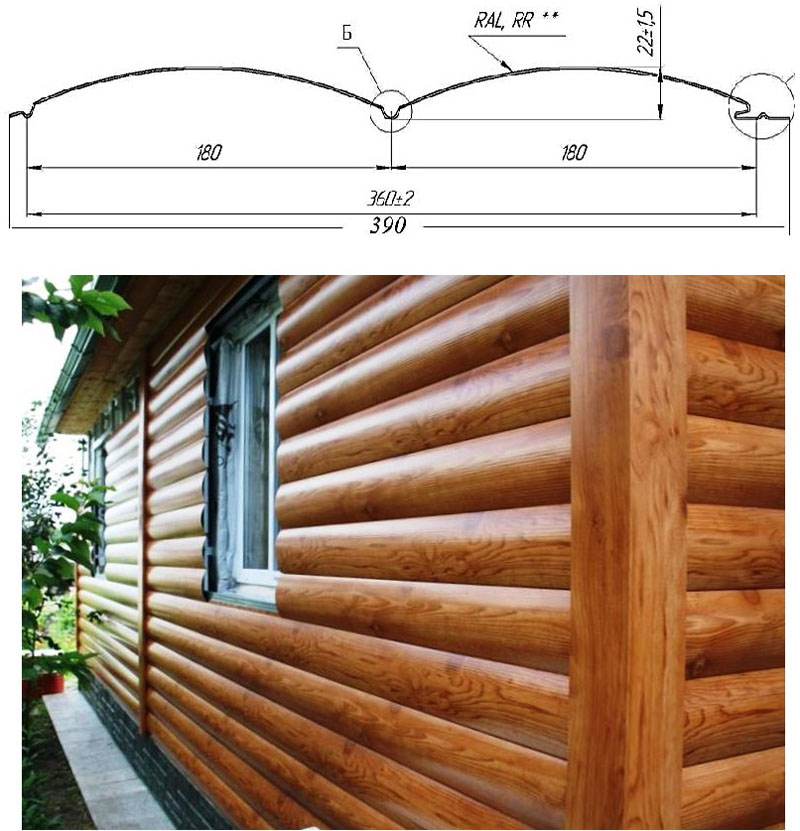 """Схема сайдинга с профилем """"блок-хаус"""" и его внешний вид на облицованном фасаде"""