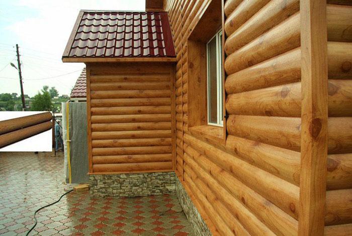 Металлическая облицовка с профилем блок-хаус, имитация древесины осуществляется за счёт раскраски