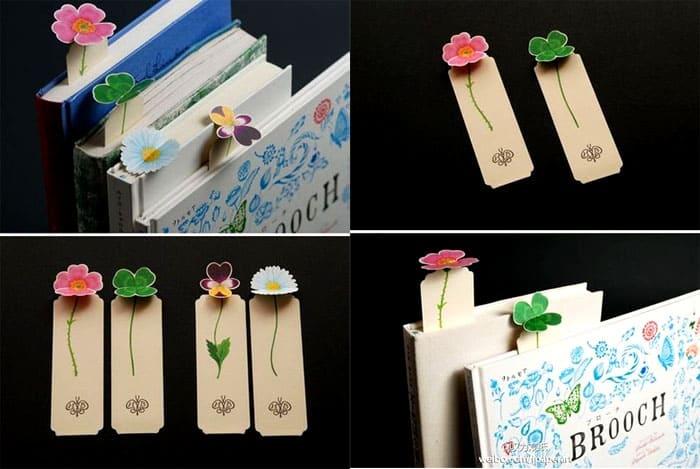 Картонные закладки можно украсить трёхмерными или двухмерными цветами, если в каждую книгу на полочке вставить такую красоту, получится целый сад