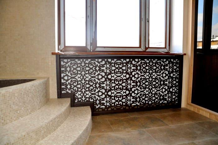 Декоративное оформление алюминиевых радиаторов при помощи решётки