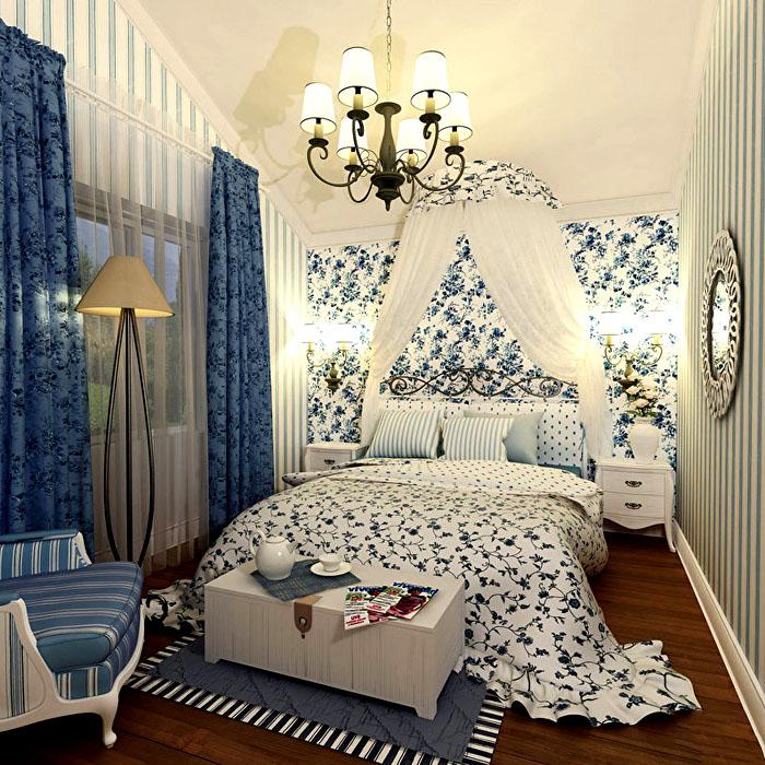Сине-белая гамма подарит такие же волшебные сны владельцу этой спальни.А балдахин является частью декора и выполняет функцию акцента над спальным местом