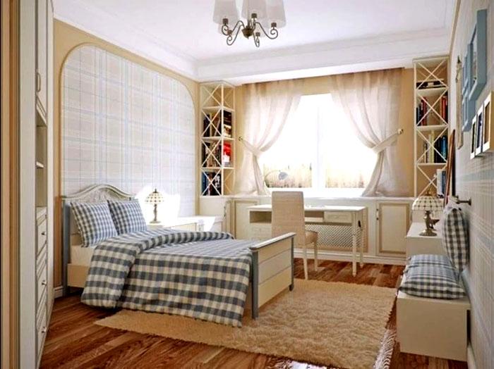 Кантри может быть очень нежным, если брать мебель светлого цвета, например, сосновую, а текстиль подбирать в тон мебели