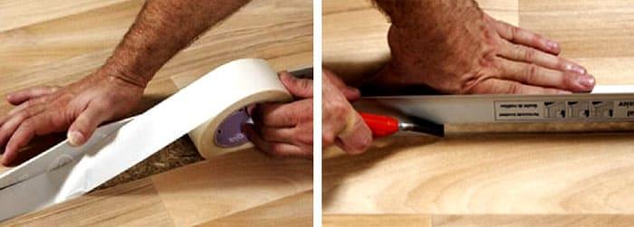 Предварительная фиксация и обрезка шва между двумя полотнищами линолеума