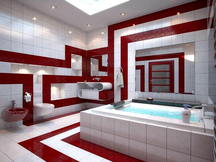 В интерьере с белым и рубиново-бордовым появляется намёк на роскошь