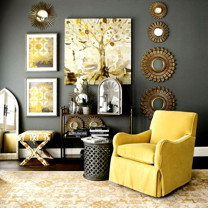Серый тон служит прекрасным оттеняющим фоном для других красок