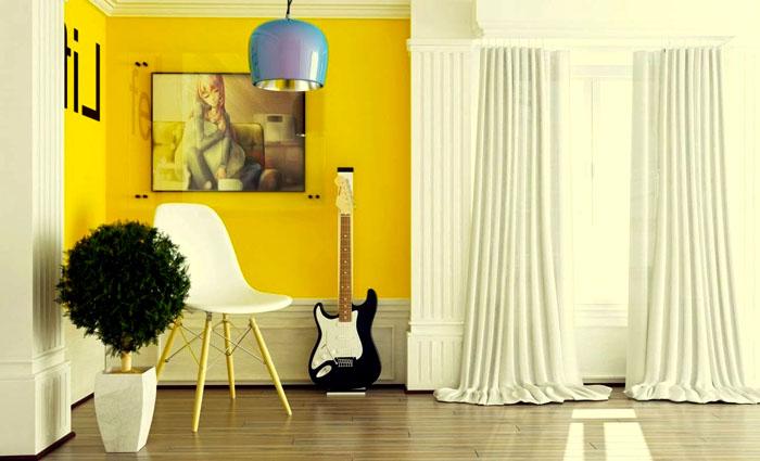 Жёлтый, сам по себе, очень напоминает солнышко и его тепло, вот и интерьеры получаются наполненные чем-то солнечным