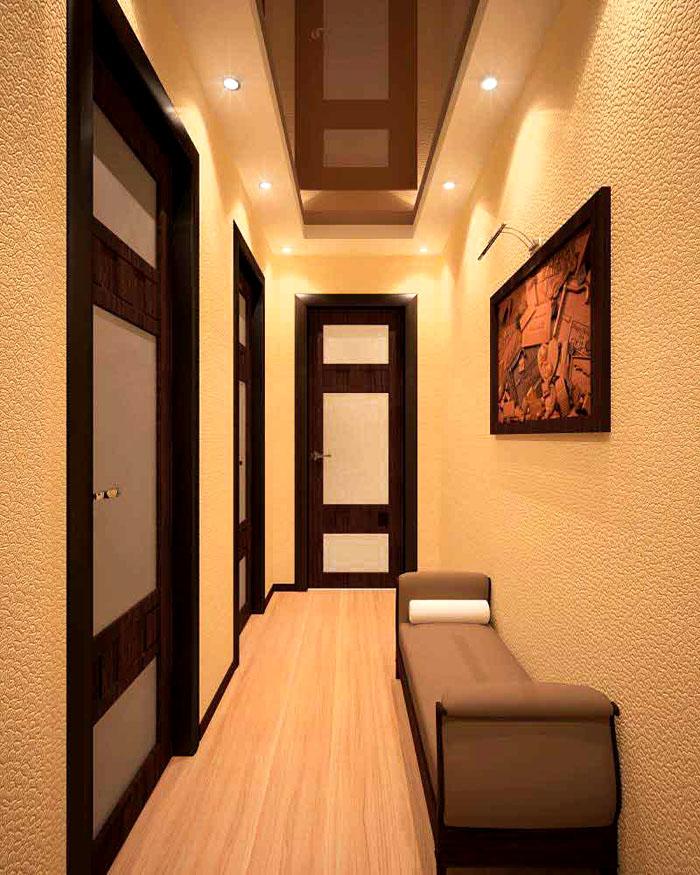 В длинных коридорах наоборот, лучше брать тёплую гамму