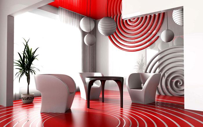 Красные оттенки страстные, горячие, жгучие, что делает помещение очень броским и ярким
