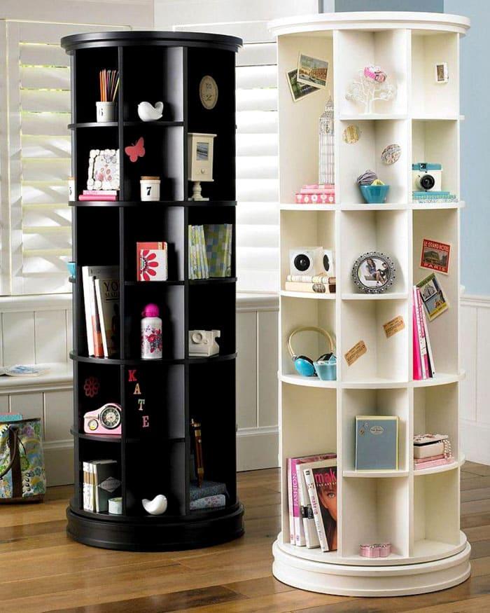 Цилиндр используют как удобное место для хранения книг или других вещей. Удобство заключается во вращении конструкции