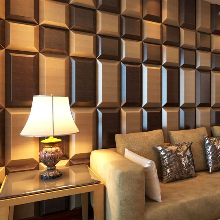 Цветовое решение и текстура позволяет сделать акцент в нужном месте комнаты