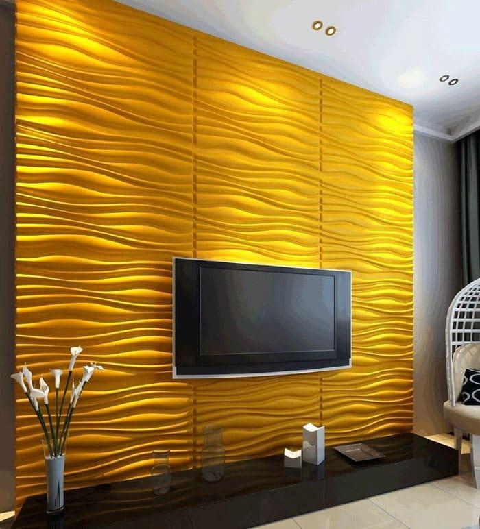 Стена под телевизор сама по себе служит оформлением зоны