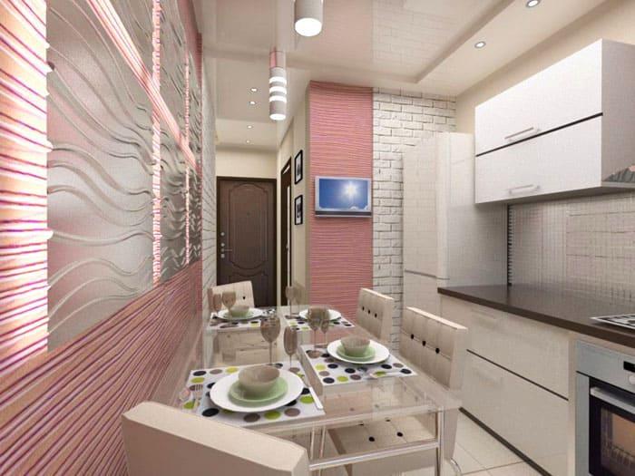 В небольшом помещении тоже хороши объёмные плиты с подсветкой
