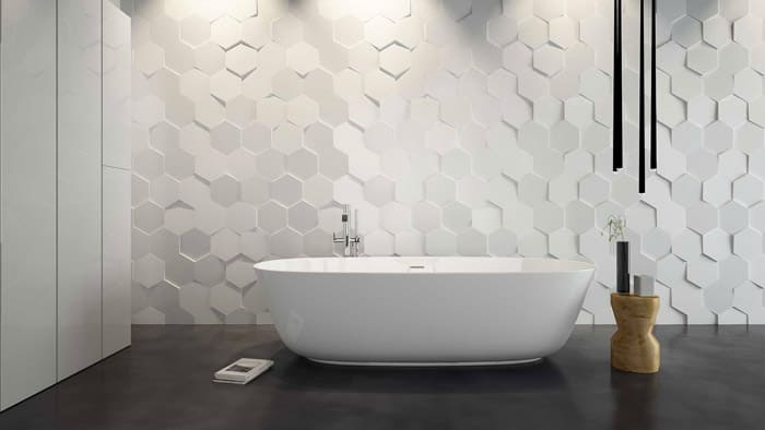 Отделка всей стены или её части за ванной восхитительна