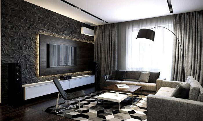 Мебель по периметру собирает в гостиной общий центр